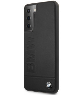 "Juodas dėklas Samsung Galaxy S21 telefonui ""BMHCS21SSLLBK BMW Leather Hot Stamp Cover"""
