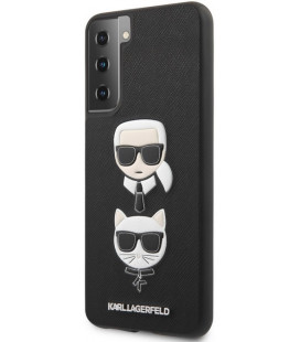 "Juodas dėklas Samsung Galaxy S21 telefonui ""KLHCS21SSAKICKCBK Karl Lagerfeld Saffiano K&C Heads Cover"""