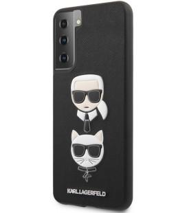 """Juodas dėklas Samsung Galaxy S21 Plus telefonui """"KLHCS21MSAKICKCBK Karl Lagerfeld Saffiano K&C Heads Cover"""""""