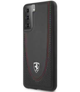 "Juodas dėklas Samsung Galaxy S21 Plus telefonui ""FEOGOHCS21MBK Ferrari Off Track Stitch Line & Perforated Leather Case"""